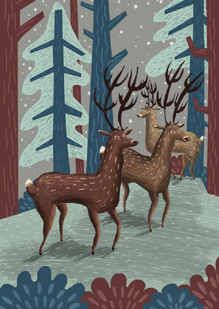 """Deer Christmas"" – Illustration"