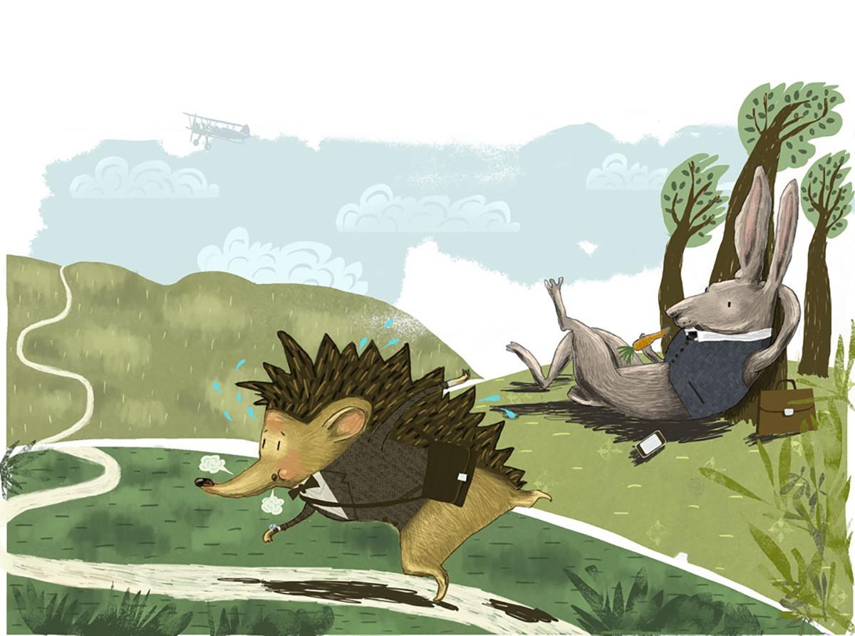 """Hare and hedgehog"" – illustration"