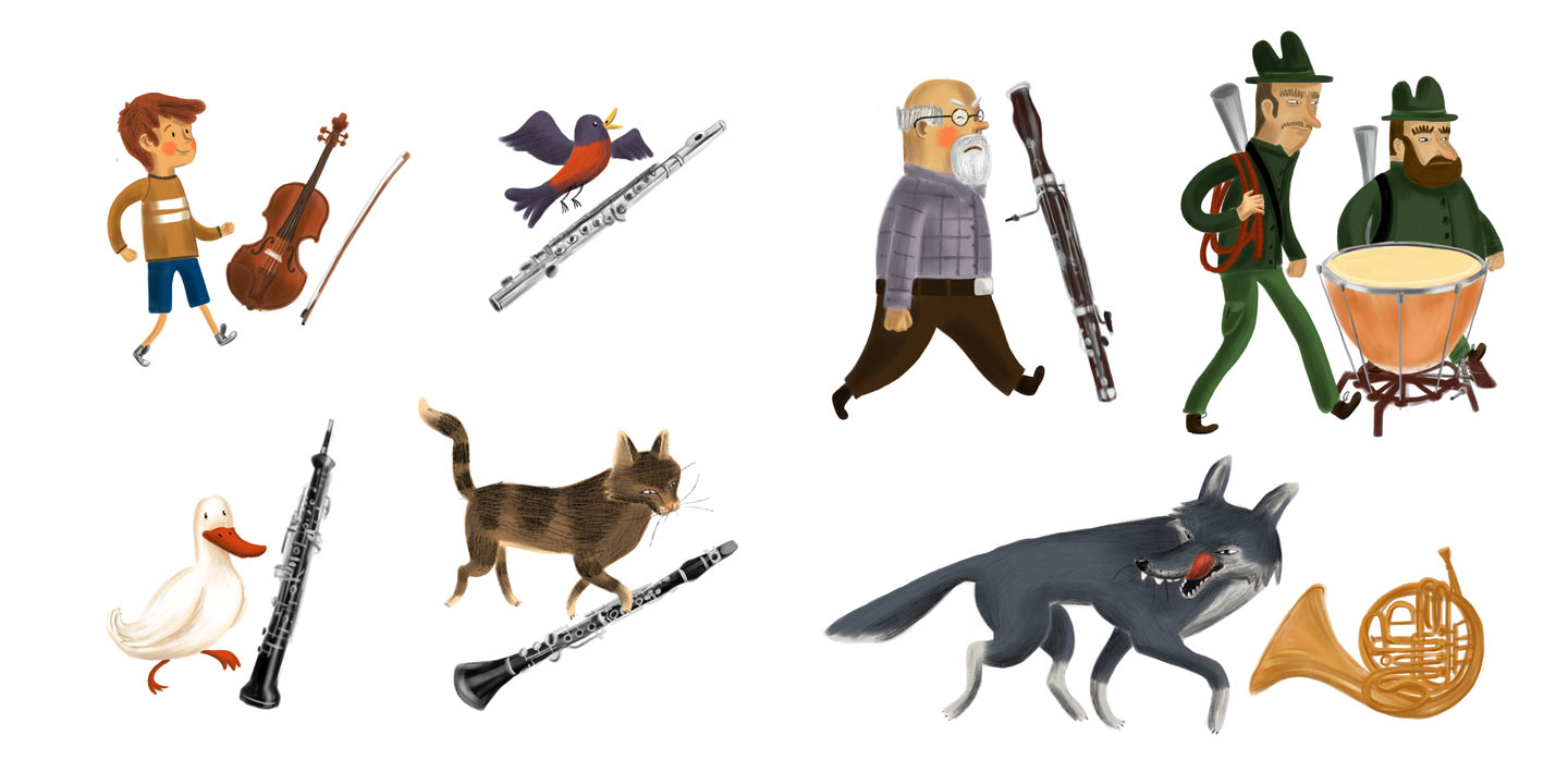 """""""Instruments"""" – illustration from """"Peter and the wolf"""""""