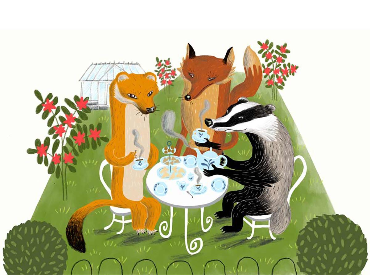 """Teatime"" – illustration of animals drinking tea"