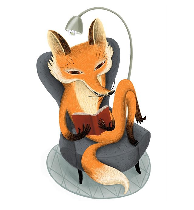 """reading fox"" – illustration of a fox, reading in an armchair"