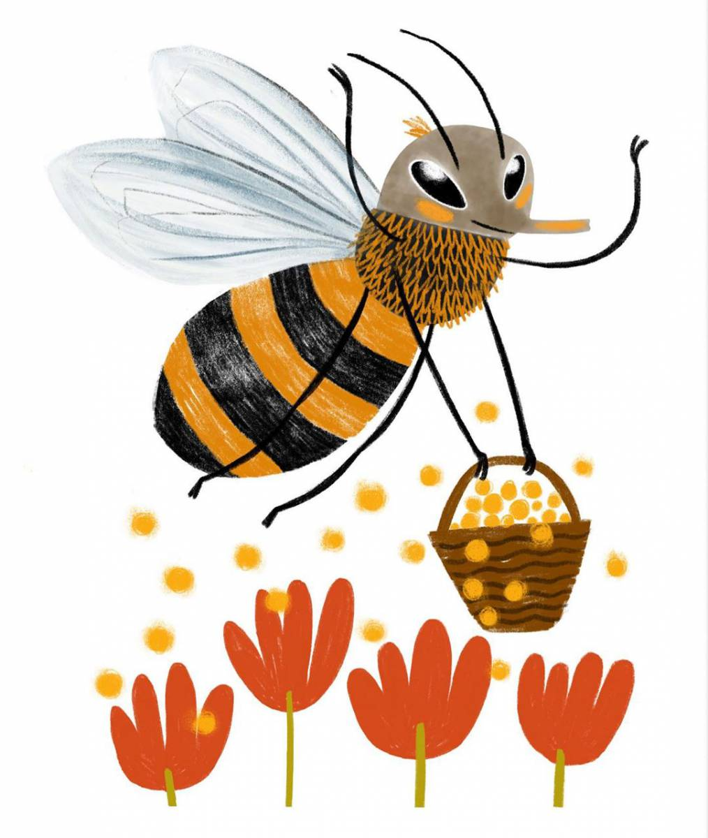 """""""Pollen"""" – Illustration of a bee pollening flowers"""
