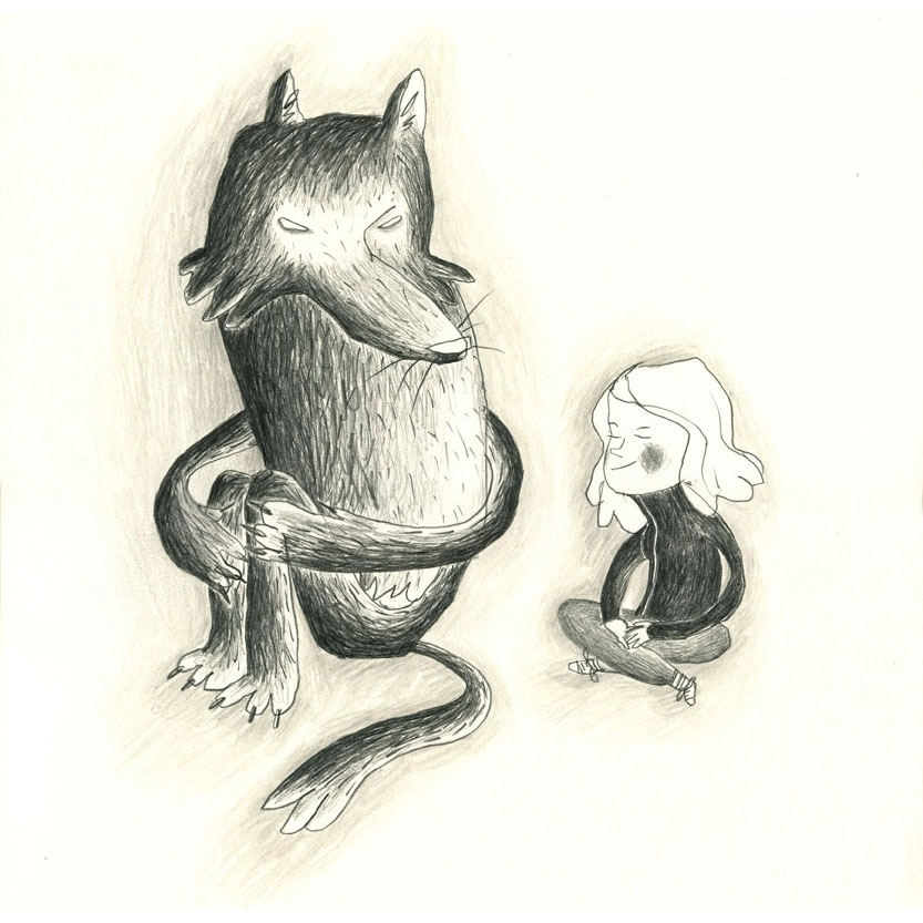 """Wolf and me"" – illustration of a girl and her wolf friend"